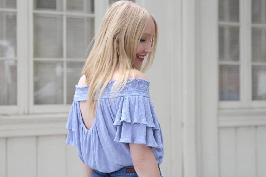 currently crushing, free people off the shoulder top, santorini top, articles of society flares, nordstrom, pandora jewelry, caravelle by bullova watch