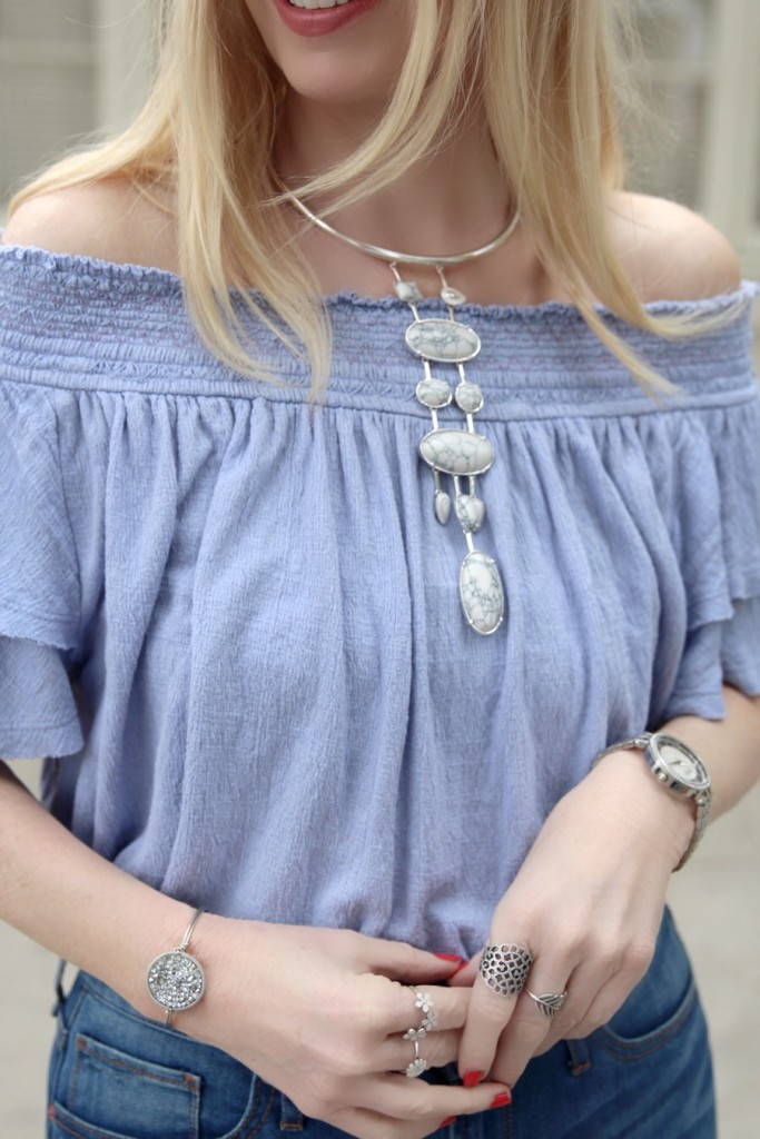currently crushing, free people off the shoulder top, santorini top, articles of society flares, nordstrom, pandora jewelry, caravelle by bullova watch, samantha wills necklace