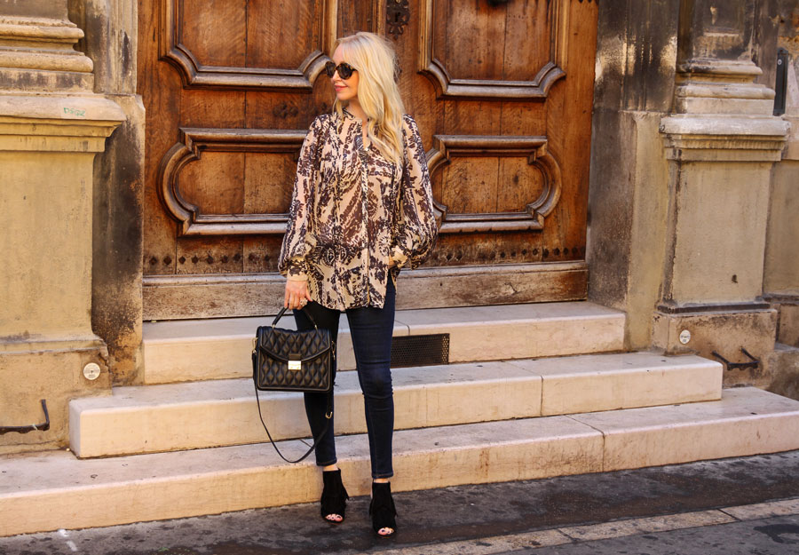 currently crushing, hm studio AW 16 chiffon blouse, Vera Bradley Lydia bag, sam edelman peep toe booties fringe, sunday somewhere sunglasses, provence travel