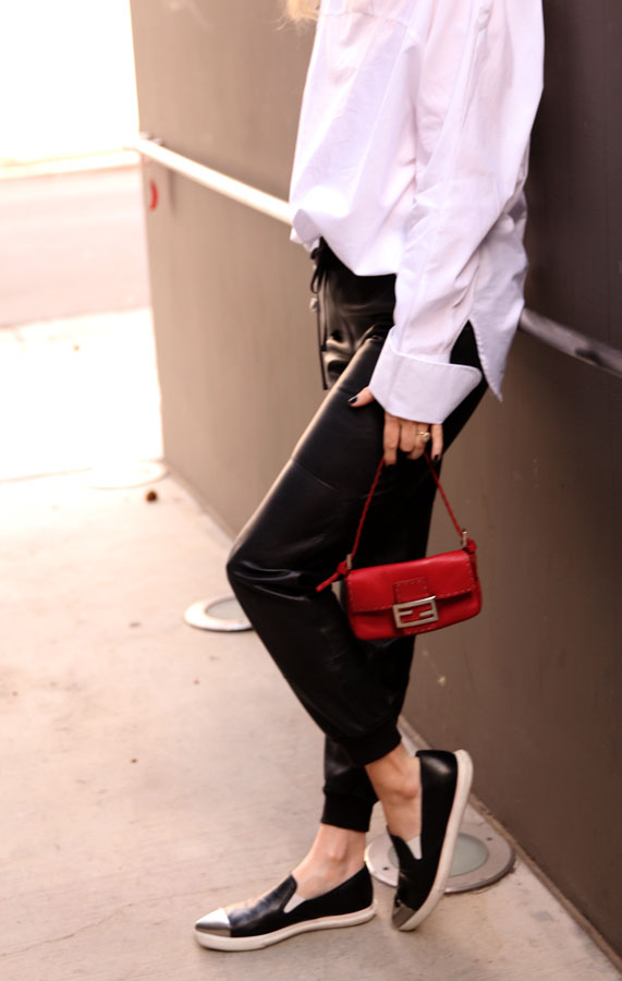 currently crushing, miu miu silver cap toe skate sneaker, hm oversized blouse, leather joggers, vintage fendi bag, rumba watch