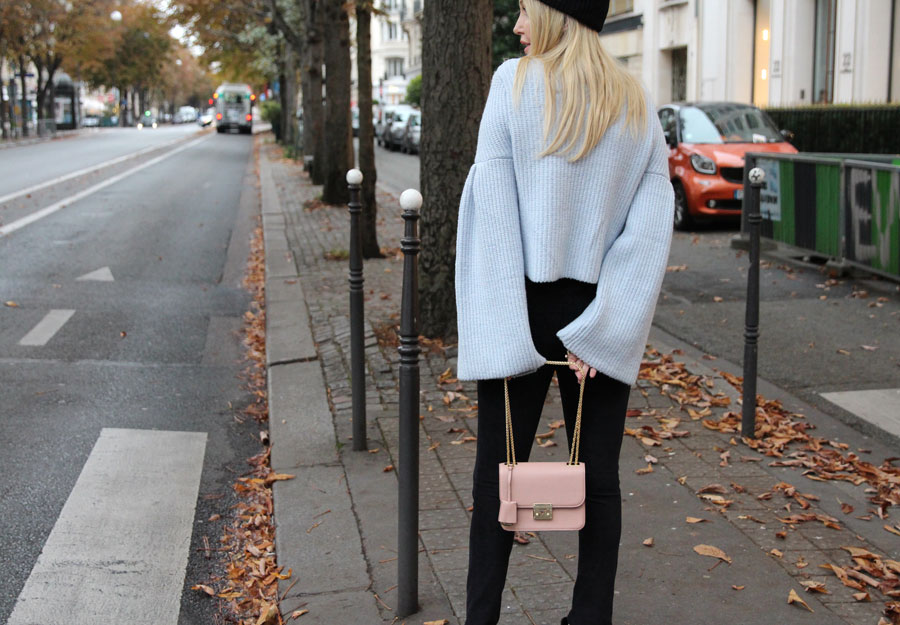 currently crushing, paris, hm bell sleeve sweater, joes jeans suede pants, sam edelman petty boots, henri bendel pink bag