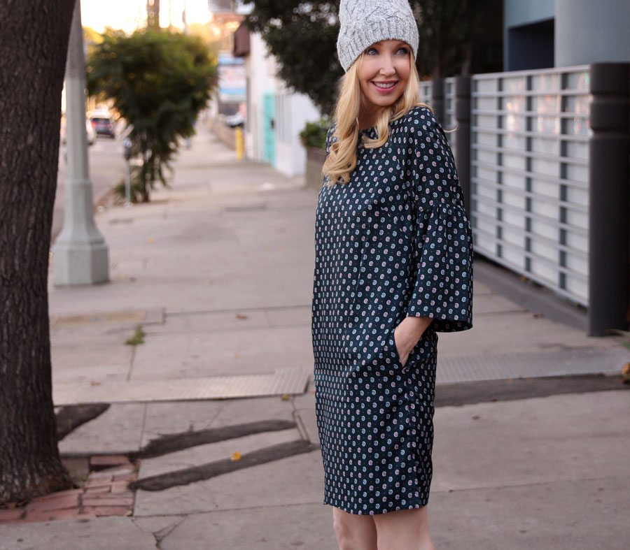 currently crushing, banana republic bell sleeve dress, banana republic knit cap, #itsbanana