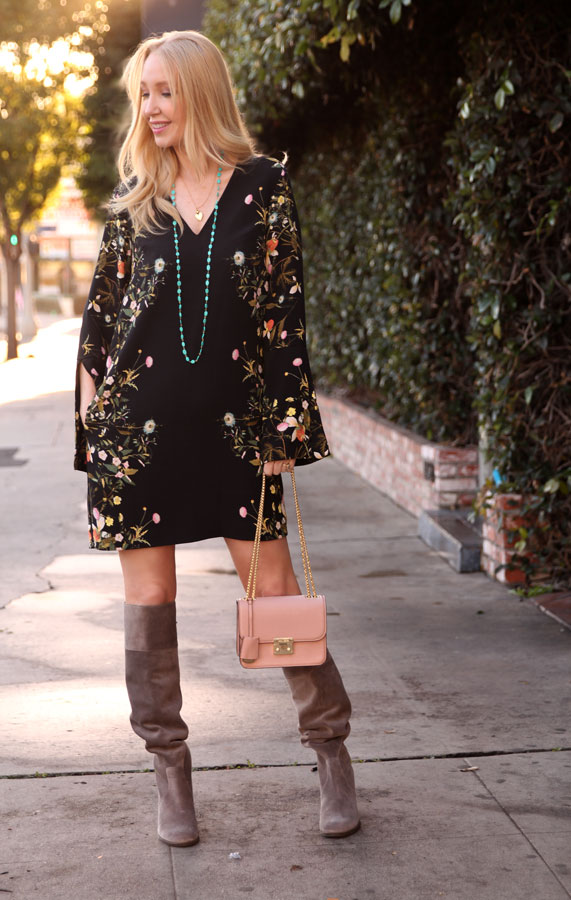 currently crushing, emma j dawn mccoy necklace, henri bendel waldorf bag, rachel by rachel roy floral dress macys, dr scholls over the knee boots