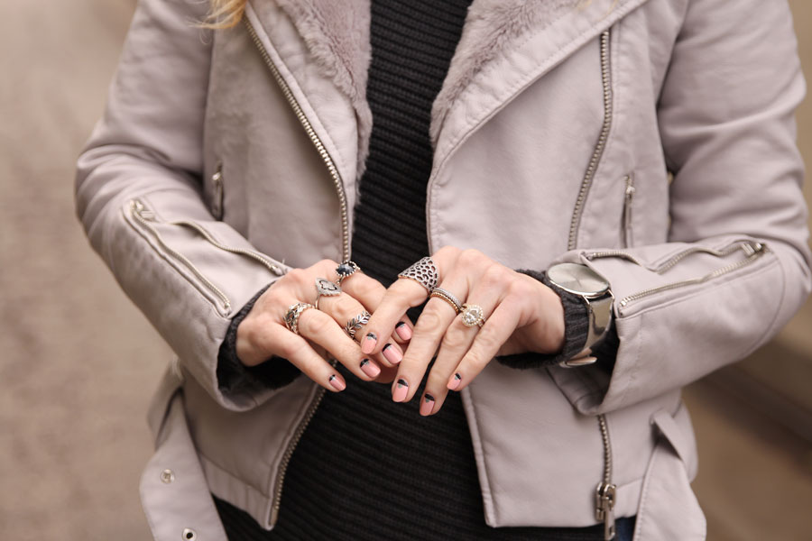 currently crushing, grey fur moto jacket, forever 21 moto jacket, pandora silver rings, miss pop nails mani, express tunic sweater, rumba time watch