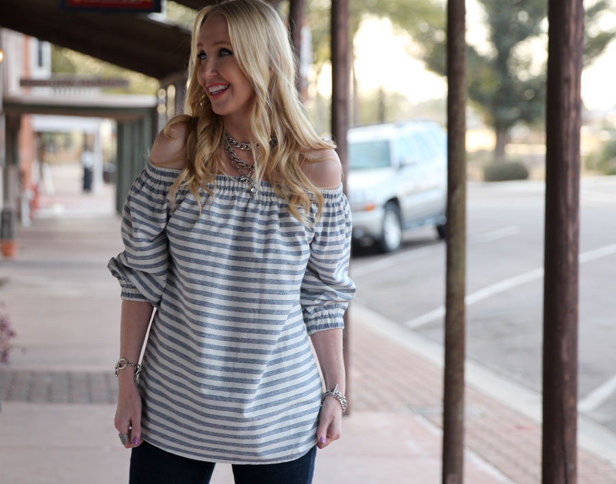 bishop and young, stiped off the shoulder top, revolve, spring fashion, free people biker belt, keke palmer shoedazzle booties, free people jewelry, currently crushing