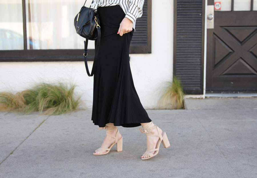 currently crushing, pleione striped off the shoulder blouse, pleione long black skirt, windsor smilth heels, vera bradley black leather tote bag, sunglass warehouse
