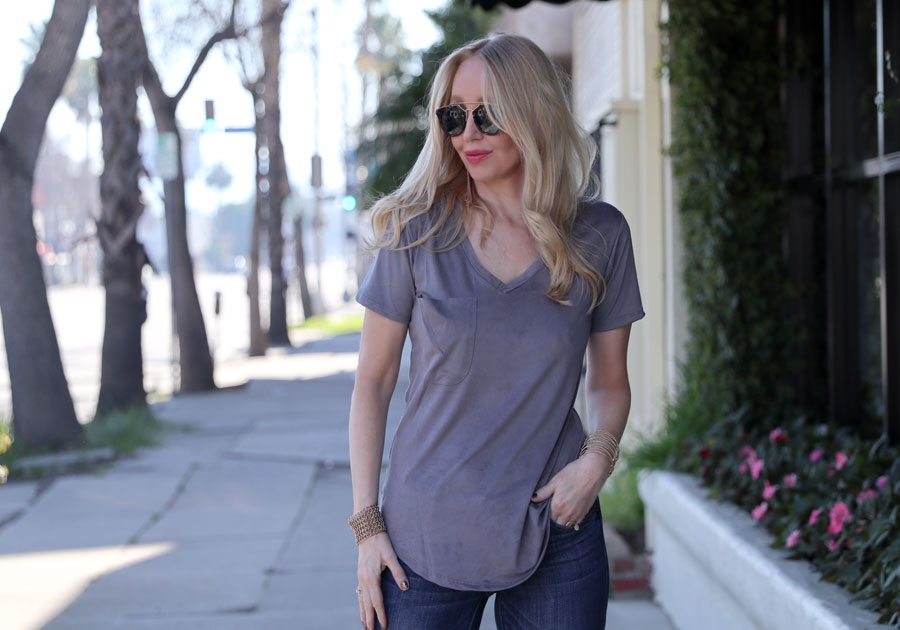 currently crushing, z supply pocket tee, suede tee, gigi new york monogrammed bag, sunglass warehouse cat eye sunglasses
