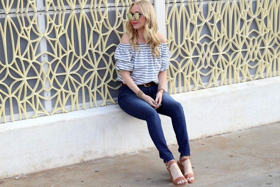 currenty crushing, mot and bow denim, windsor smith heels, bishop and young clothing, bishop and young off the shoulder top, sunday somewhere sunglasses