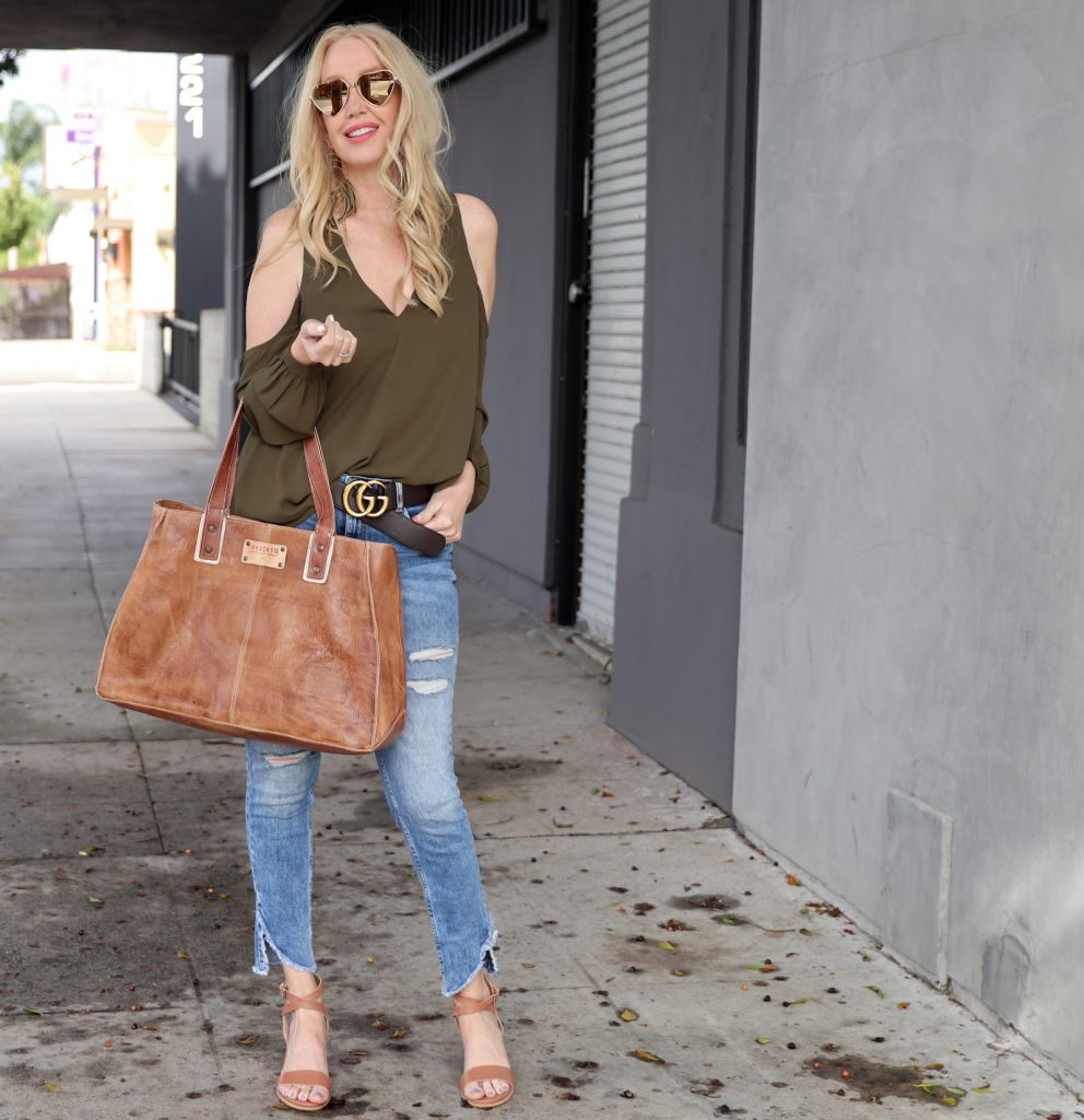 currently crushing, foster grant sunglasses, tobi cold shoulder blouse, nashelle jewelry earrings, zara distressed denim, gucci belt, windsor smith heels, bed stu leather tote