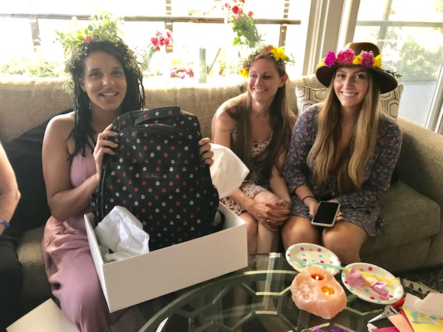 boho baby shower, how to host a baby shower, flower crown station, candy buffet cart, currently crushing, vera bradley baby backpack, vera bradley diaper backpack