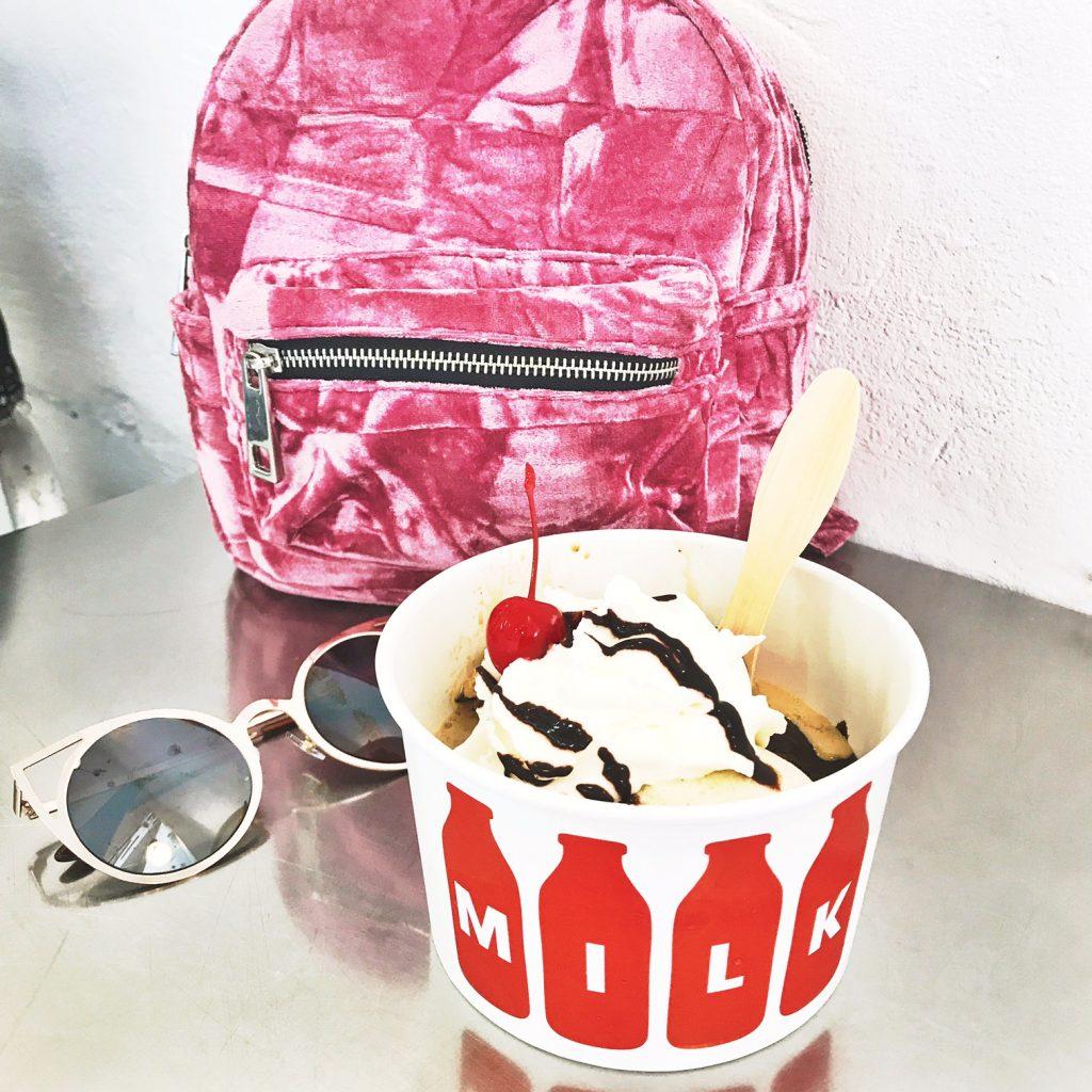bloomingdales pink velvet backpack, foster grand sunglasses, national ice cream day