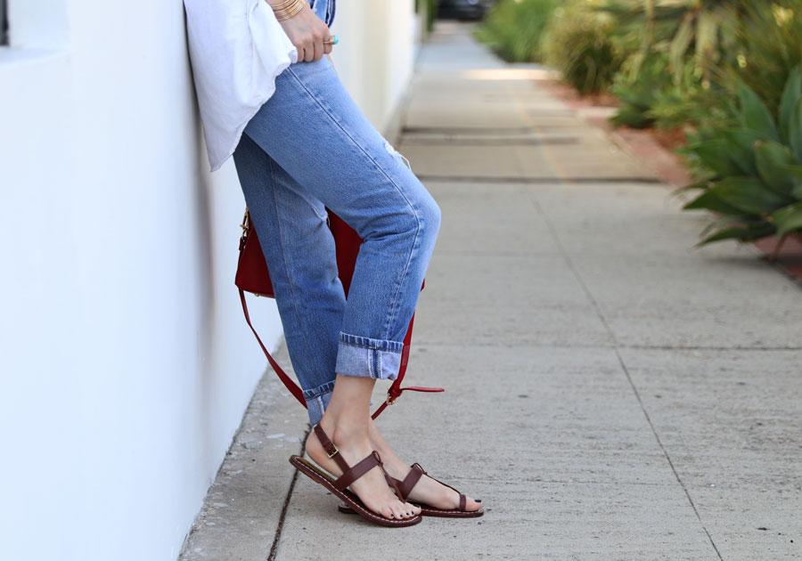 bernardo sandals, vintage levies 501, ora delphine leather bag, sunday somewhere sunglasses, grlfriend denim bandana, classic bernardo sandals