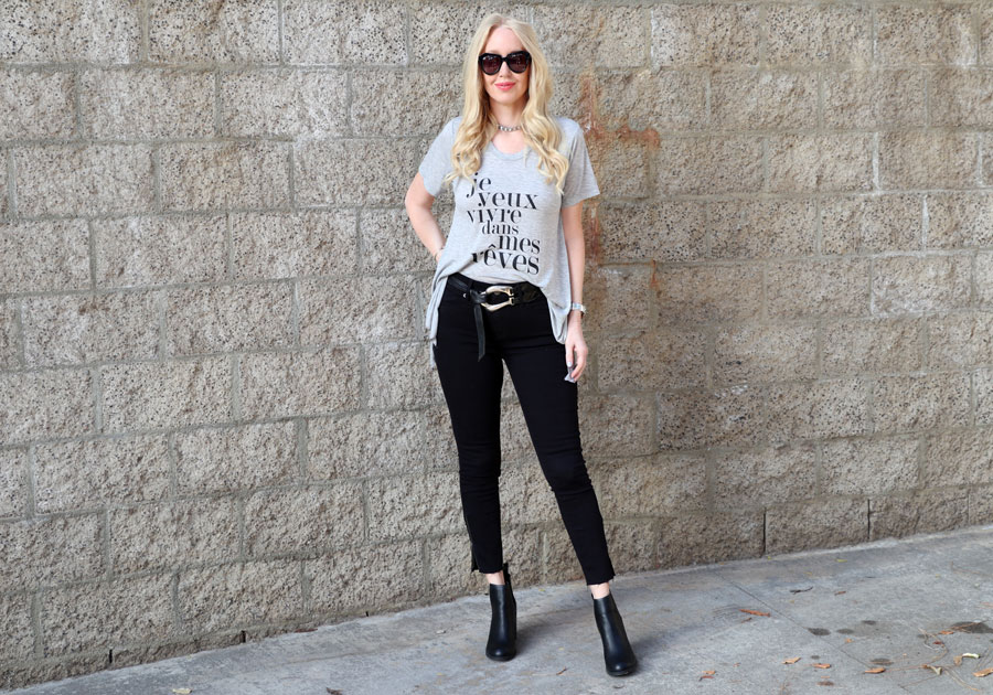 currently crushing, lipstik shoes boots, express black denim, karen walker sunglasses, peppered in style tee