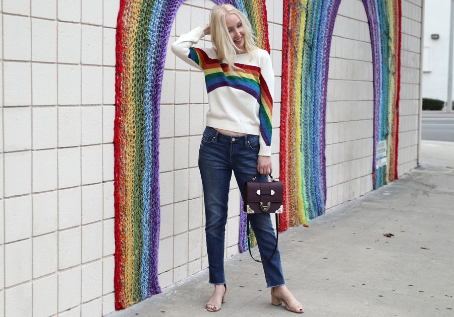currently crushing, marc jacobs rainbow sweater, henri bendel tiny bag, cutest tiny purses