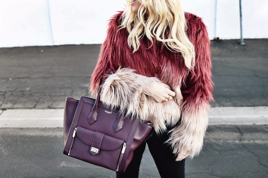bebe faux fur jacket, henri bendel tote bag, currently crushing