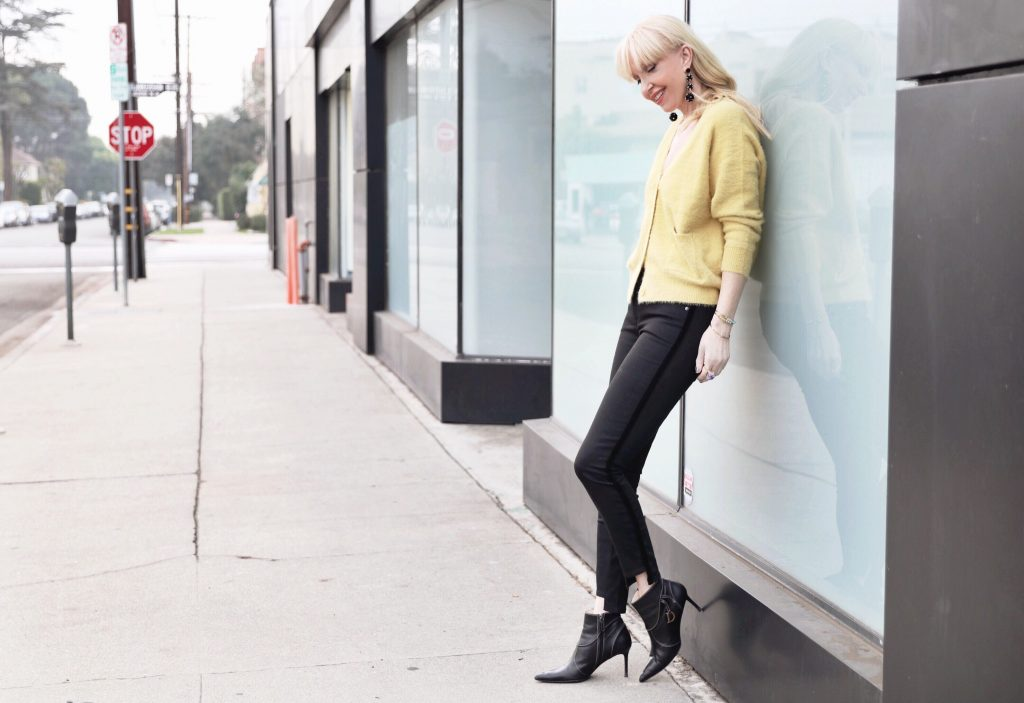 currently crushing, parker smith jeans, black tuxedo jeans, yellow forever 21 cardigan, bauble bar ball earrings