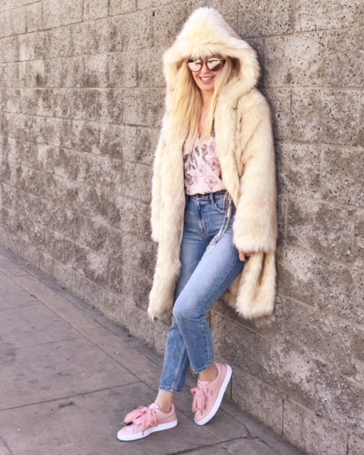 currently crushing, oh polly faux fur coat, astr the label body suit, ragen jewelry sunburst necklace, puma pink patent sneakers, blanc and eclare sunglasses