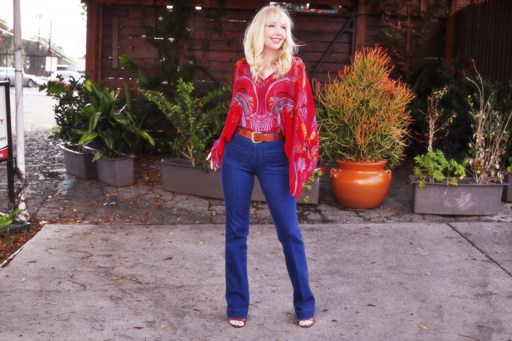 currently crushing, wrangler flares, free people top, jules smith jewelry
