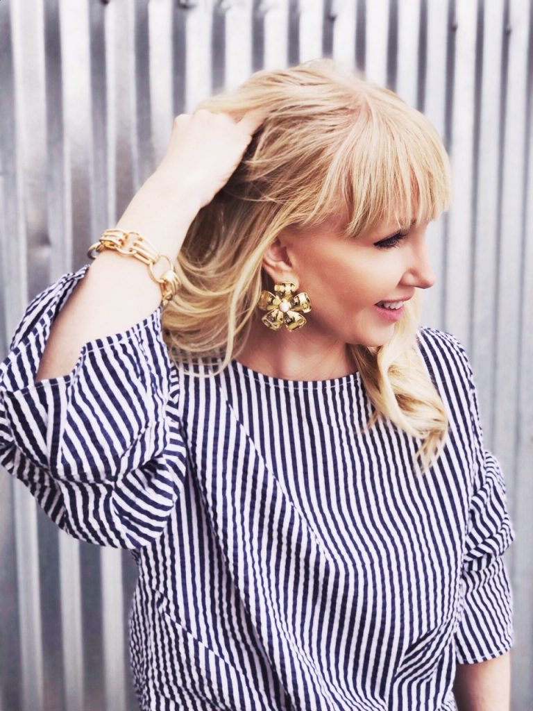 currently crushing, bauble bar flower earrings, bauble bar chain bracelet, HM striped blouse