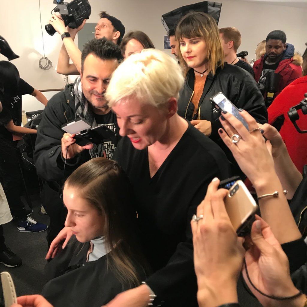 nordstrom beauty trends event, backstage at NYFW, Aveda backstage NYFW