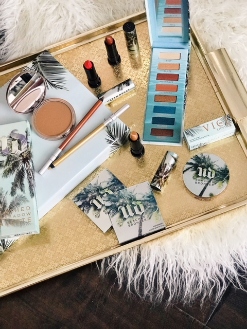 currently crushing, urban decay beached bronzers, urban decay vice lipsticks for summer, urban decay beached eye shadow palette,