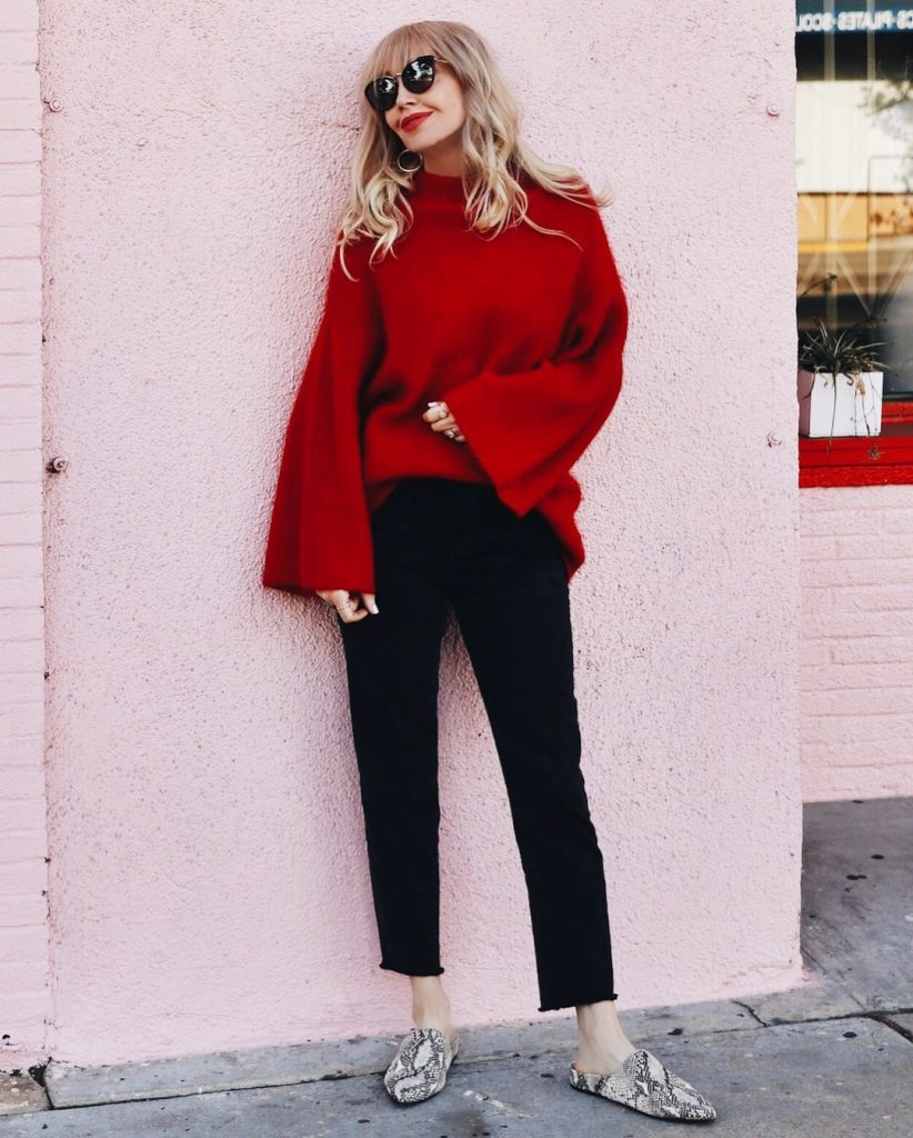 currently crushing, H&M red wool sweater, paige coated denim, steve madden mules on sale, boss babe wall