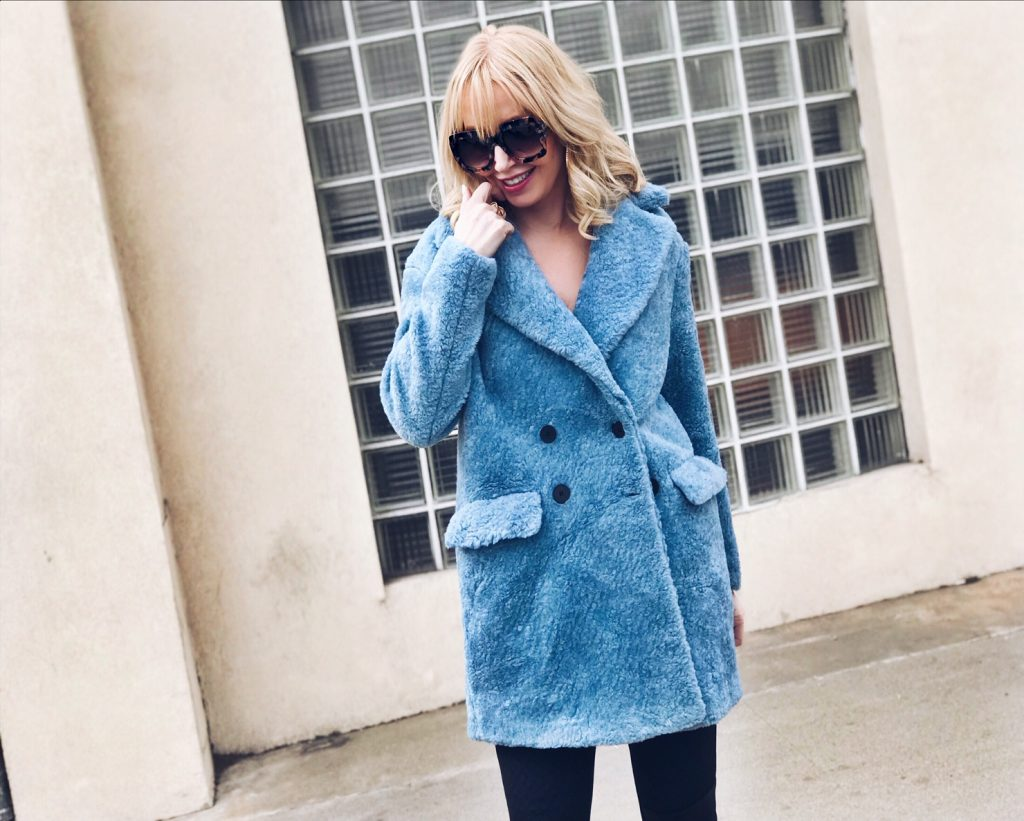 blue faux fur coat, currently crushing, shopbop fur coats, shopbop sale