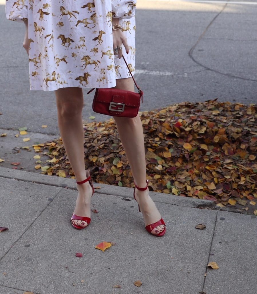 currently crushing, chinese laundry heels, fendi red vintage baguette, ganni horse dress, shopbop
