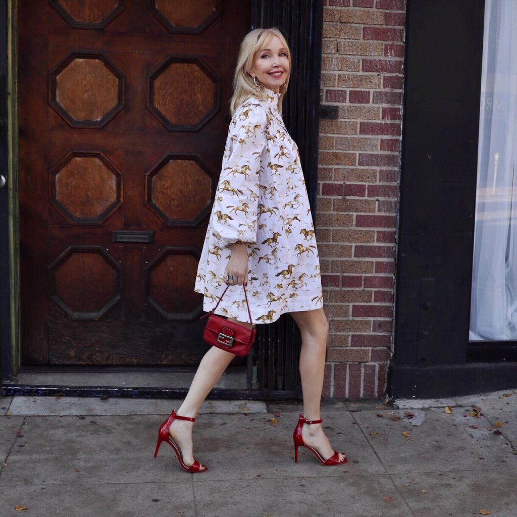 ganni horse dress, shopbop sale, fendi baguette bag, chinese laundry red heels