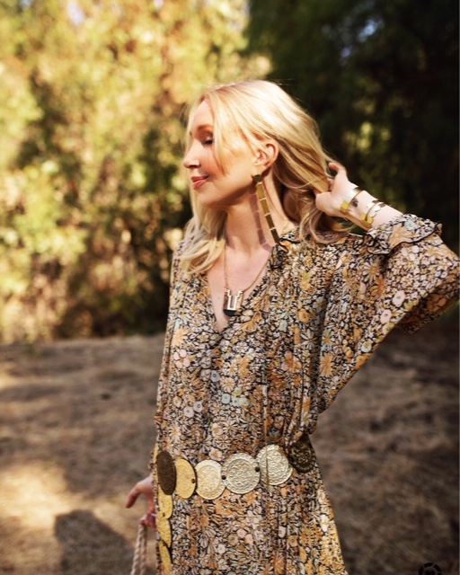 currently crushing, free people prairie dress, vintage gold coin belt, area stars jewelry