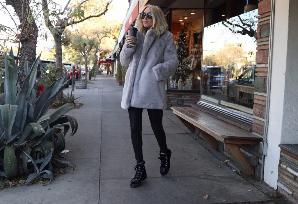 currently crushing, apparis faux fur coat, steve madden glitter hiking boots, express faux leather leggings, sunglass hut burberry sunglasses